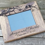 Love birds wooden picture frame, custom wedding photo frame, personalized photo frame, 5x7 horizontal picture frame, engagement photo frame