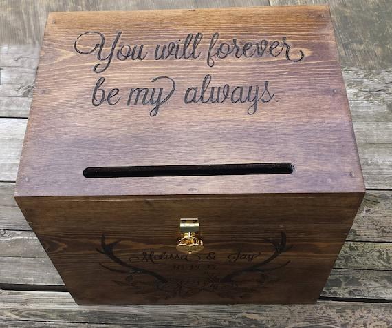 Card box for wedding with slot rustic wedding card box   Etsy