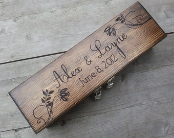 Floral wedding wine box for love letter and unity ceremony alternative box, wine gift box tote