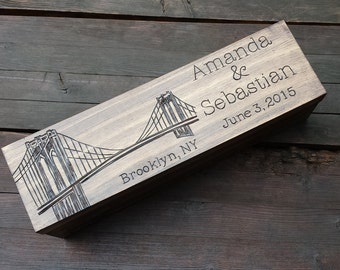 Gift for wine lovers, Wine box ceremony, wedding wine box, custom wine box, personalized wine box, memory box, brooklyn bridge, wedding gift