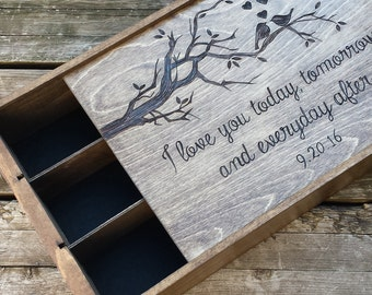 Love birds three bottle anniversary wine box, wedding wine box, keepsake box, wedding gift, anniversary gift, wine crate, wooden wine box