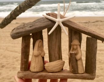 8 driftwood manger ornament Christian wood nativity scene Christmas tree Baby Jesus creche BeachHouseDreams OBX Across the miles Outer Banks