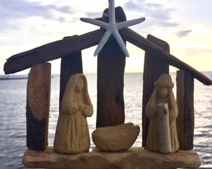 ORIGINAL OBX Driftwood nativity manger scene ornament starfish Christmas tree ornament wood nativity baby Jesus BeachHouseDreams Outer Banks