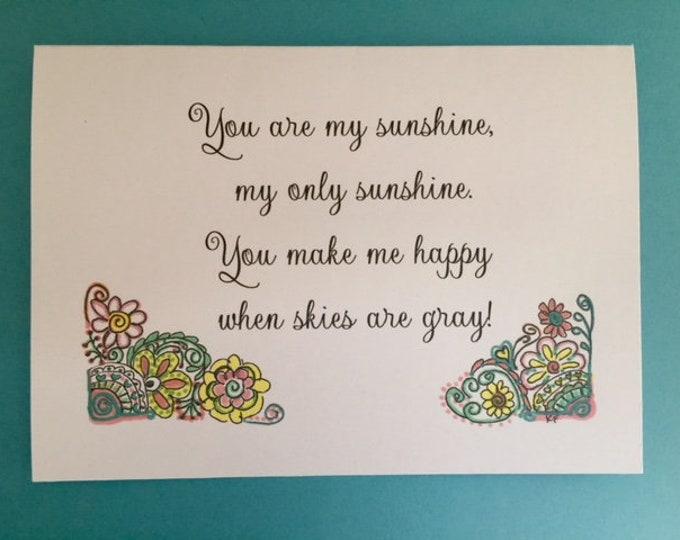 You are my sunshine original design greeting card 5 x 7 art print gift grandchildren grandparent ideas BeachHouseDreams