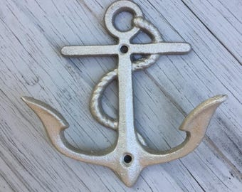 6 SIX UNMOUNTED anchor beach towel rack sailor boat cabin lake mudroom river cottage nautical Outer Banks OBX beach towel holder Beach House