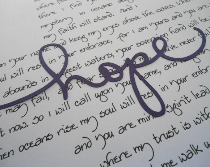 Hope print faith quote oceans praise song lyric cross Christian wall art believer baptism encouragement hope faith BeachHouseDreamsHome OBX