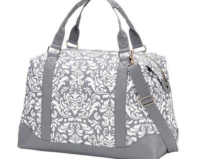 weekend luggage travel bag grey damask tote vacation home hostess thank you gift destination wedding Outer Banks Beach House Dreams OBX