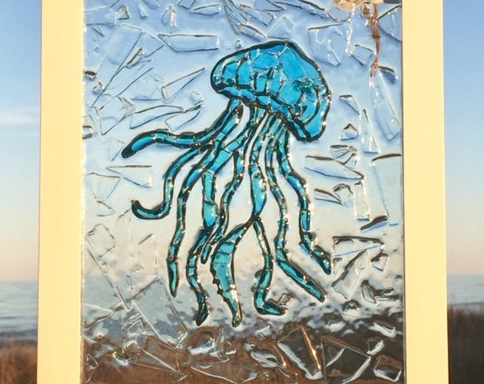 beach decor coastal wall art glass window jellyfish screen porch  entry hall kitchen window lake cottage OBX Beach House Dreams Outer Banks