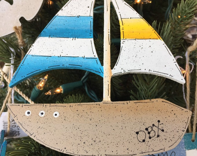Sailboat beach ornament Christmas tree Beach wedding Outer Banks wedding sailor fisherman nautical holiday gift tag BeachHouseDreamsHome OBX