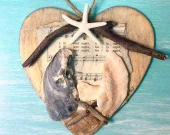 Outer Banks nativity seashell ornament manger scene driftwood stable baby Jesus creche hostess gift beach Beach House Dreams OBX Mary Joseph