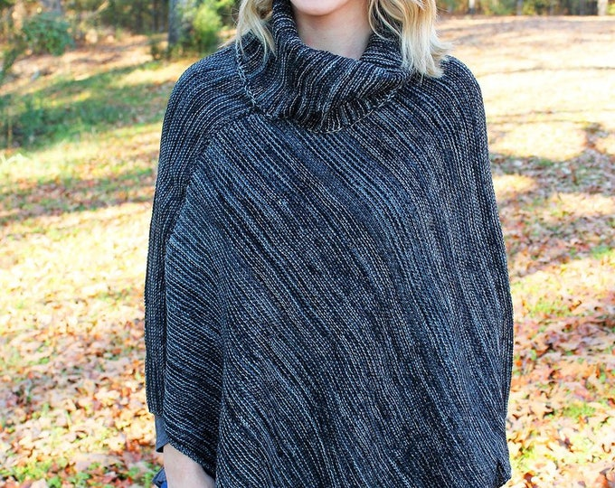 winter poncho wrap trendy outerwear womens boutique Valentines gift her black charcoal warm one size long wrap Beach House Dreams OuterBanks