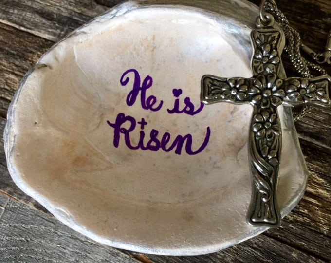 Easter ring dish jewelry holder shell He is risen inspirational hostess minister teacher gift seashell spring break OBX BeachHouseDreamsHome