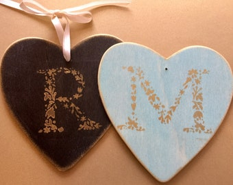 TWO 2 Monogrammed Christmas ornaments wedding newlyweds first Christmas together Mr Mrs engagement holiday tree initials BeachHouseDreamsOBX