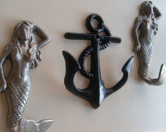 2 mermaids anchor beach home decor storage organization beach towel rack mud room hot tub pool hot tub nautical cottage BeachHouseDreamsHome