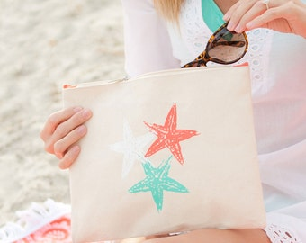 beach wedding bridesmaid gift starfish makeup bag bridal party cosmetic pouch shower hostesses Outer Banks wedding BeachHouseDreamsHome OBX