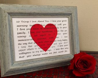 10 things I love custom 5 x 7 card print romantic Valentine gift him her engagement your words wedding anniversary Beach House Dreams OBX