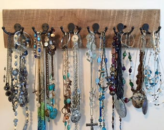 Rustic barnwood Farmhouse jewelry holder 12 hooks Beachhousedreams OBX Outer Banks home reclaimed scarf jewelry necklace tie leash organizer