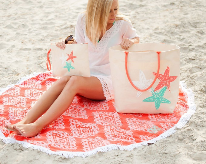 coral pantone color 2019 beach towel sand circle beach blanket coral Outer Banks wedding tropical vacation BeachHouseDreamsHome Outer Banks
