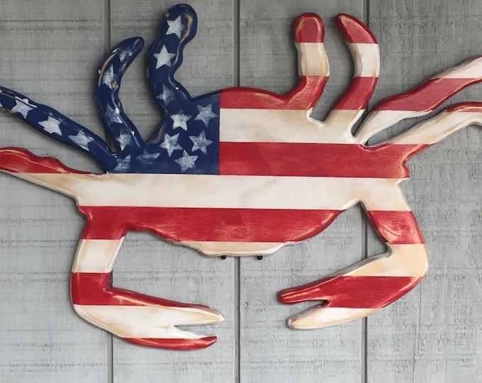 patriotic crab red white blue military appreciation veteran nautical beach decor election political party outdoor BeachHouseDreamsHome OBX
