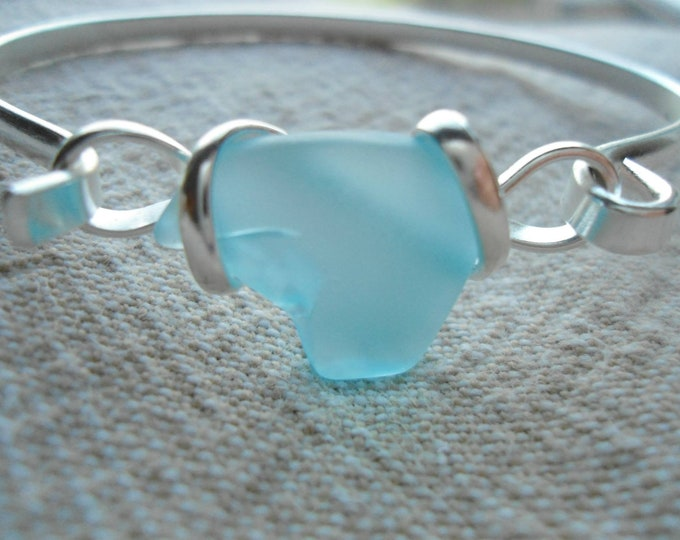 sea glass jewelry tumbled glass bangle beach lovers bracelet Valentines for her bff girlfriend mom sister daughter OBX Outer Banks