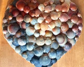 Valentine Outer Banks weddings OBX seashells large wood heart calico scallop shells original design anniversary engagement BeachHouseDreams