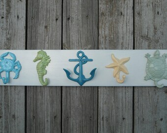 Nautical Beach decor towel rack bathroom towel hooks outdoor shower hall tree house beach home hall tree cottage UNmounted wall hooks