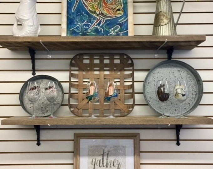3 Extra long barn 47 in wood farmhouse kitchen shelves reclaimed industrial hanging shelf display wall interior design BeachHouseDreamsHome