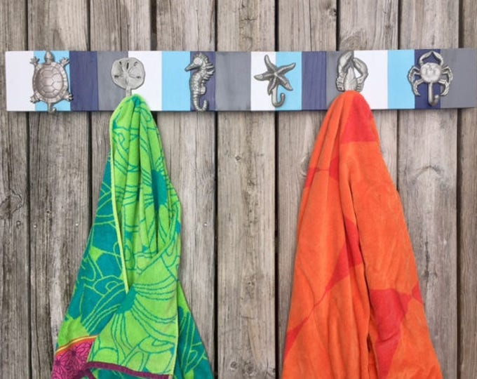 blue and gray beach towel holder bath towel nautical decor hot tub towels outside shower swimming pool lake Outer Banks BeachHouseDreamsOBX