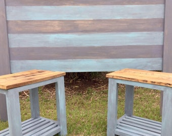 King headboard and 2 matching end tables bedroom furniture coastal living Beach Farmhouse Cottage Outer Banks NC Beach House Dreams obx