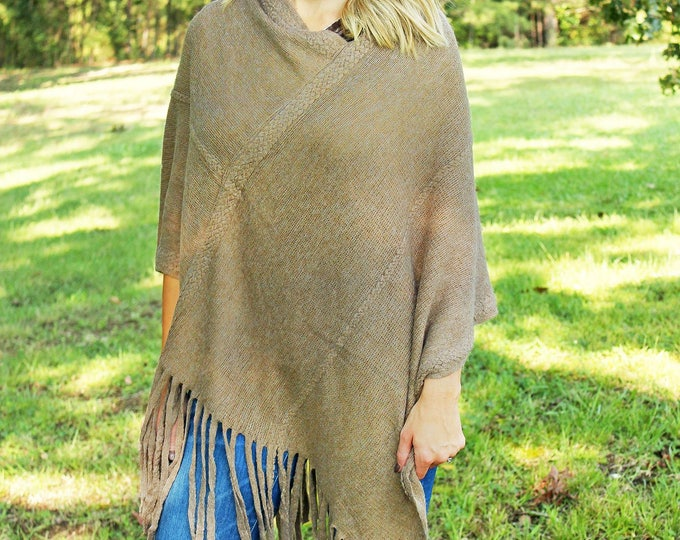 fringed poncho warm taupe trendy outerwear Christmas gift for her bestseller warm onesize scarf wrap sweater Beach House Dreams Outer Banks