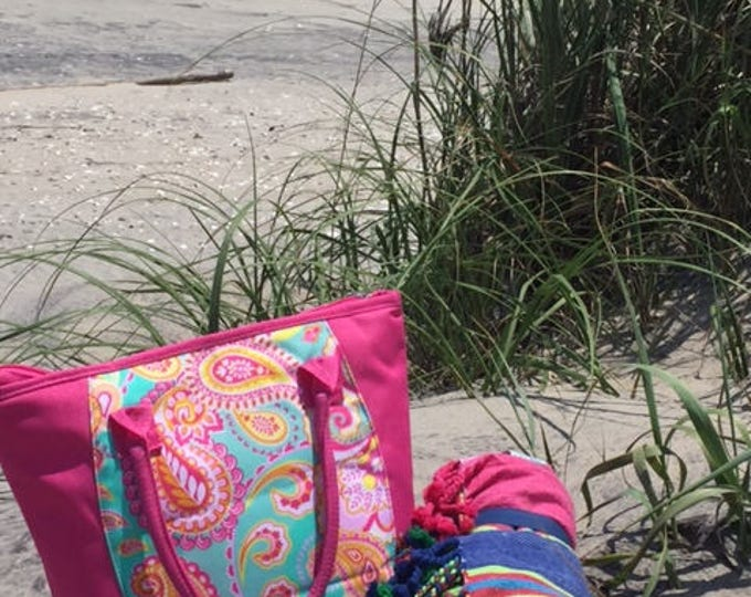 SALE Pink paisley lunch cooler bag lunch tote insulated food bag lunch box Summer picnic bag drinks Outer Banks BeachHouseDreamsHomeOBX