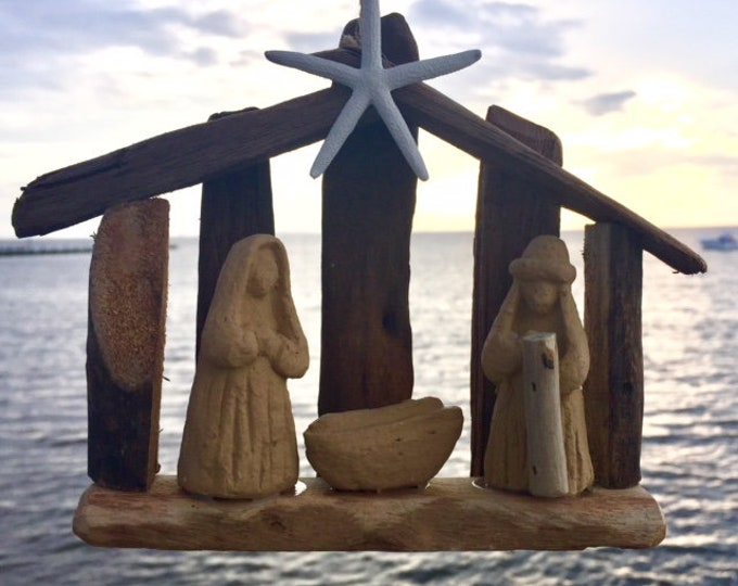 Driftwood nativity creche rustic Christmas tree ornament tabletop Holy family manger baby Jesus Outer Banks Christmas BeachHouseDreams OBX