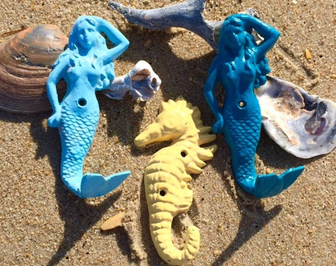 Beach towel rack starfish hook mermaid lover seahorse cast iron cottage renovation Outer Banks Coastal OBX Nautical beach Beach House Dreams