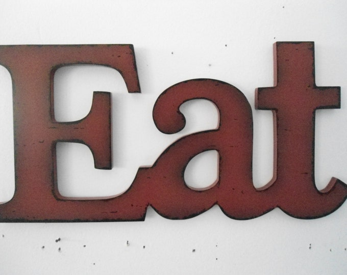 EAT sign barn red rustic Kitchen decor cottage chic dining wall decor ready to ship