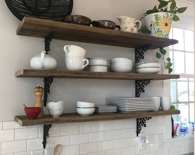 3 36 inch barn wood farmhouse kitchen shelves reclaimed industrial hanging shelf display wall art interior design BeachHouseDreamsHomeOBX