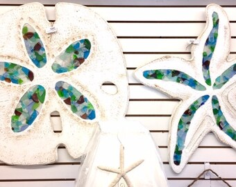 Large starfish sand dollar wall art local Outer Banks cottage seaglass indoor outdoor nautical coastal decor BeachHouseDreamsHome OBX