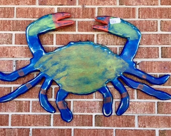 2 wooden blue crabs beach wedding crab shack restaurant seafood lovers tiki bar river lake cottage outdoor art BeachHouseDreams Home art OBX