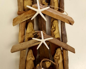 6 OBX Driftwood nativity ornaments beach mementos Christmas tree creche wood manger scene nativity Outer Banks starfish BeachHouseDreamsOBX
