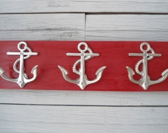 Anchor towel hooks wall hooks storage bathroom towel rack nautical nursery mudroom mancave boat fishing cabin lake mud room hot tub hot tub