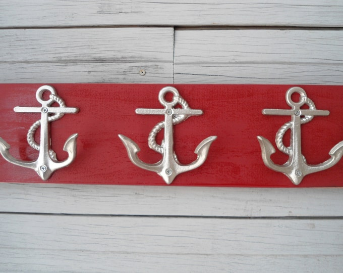 Beach cottage anchor decor wall hooks storage bathroom towel rack nautical nursery mudroom mancave boat fishing cabin lake mudroom hot tub