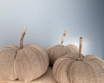 3 Sweater pumpkins silver gray Ready to Ship driftwood farmhouse inspired fall wedding autumn harvest holiday centerpiece Thanksgiving OBX
