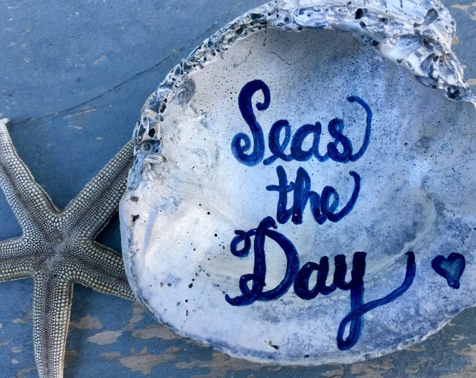 Seas the day ring dish handlettered style seashell jewelry bridesmaids Beach Weddings Outer Banks hostess ringbearer BeachHouseDreamsOBX