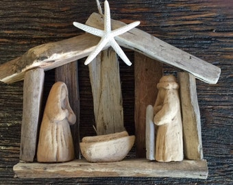3 driftwood nativity ornaments ship AFTER Jan 4 OBX Christmas baby Jesus manger Holy family creche church Sunday school 1st BeachHouseDreams