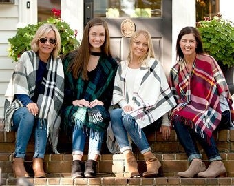 plaid Shawl scarf poncho fall college football holiday gift her shower hostess Outer Banks wedding bridesmaids Beach House Dreams Home OBX