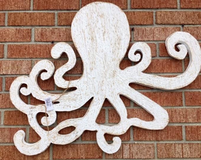 Large octopus wooden cutout white neutral BeachHouseDreamsHome front door decor outside art pool hottub OBX housewarming coastal Outer Banks