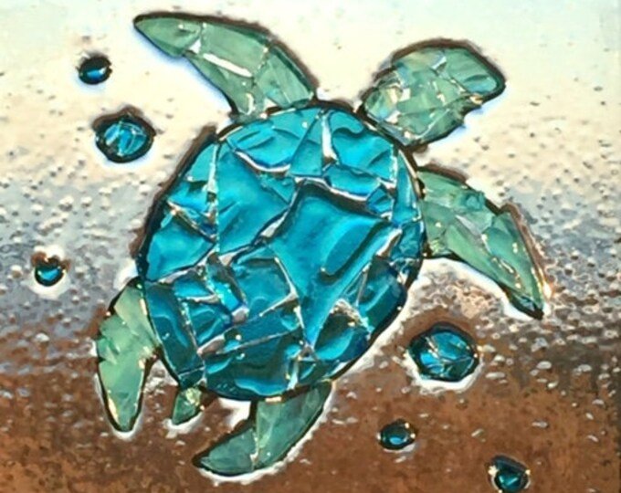 Turtle wall art sea turtle rescue N E S T gift for turtle lovers broken glass window frame OBX BeachHouseDreams coastal living Outer Banks