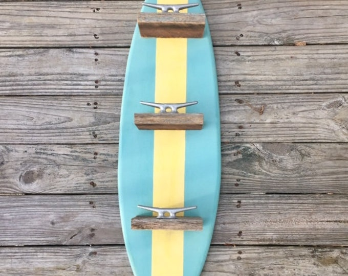 Surfboard towel rack barn wood shelf best seller coastal decor OBX beach home accessories beach towels boat cleat farmhouse BeachHouseDreams