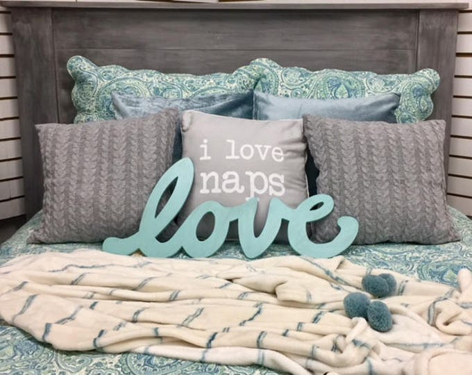 Gray Blue headboard Queen farmhouse bedroom furniture bed cottage chic rustic BeachHouseDreams LOCAL PICKUP Outer Banks N C OBX