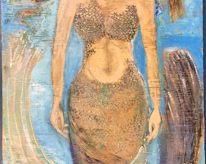 Large mixed media MERMAID wood Original painting ooak Nautical beach wall art gift mermaid lover Valentines housewarming Beach House Dreams