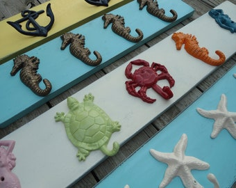 Turtle seahorse starfish nautical beach decor mud room hot tub towel beach home bath towel rack hooks cottage renovation lakehouse